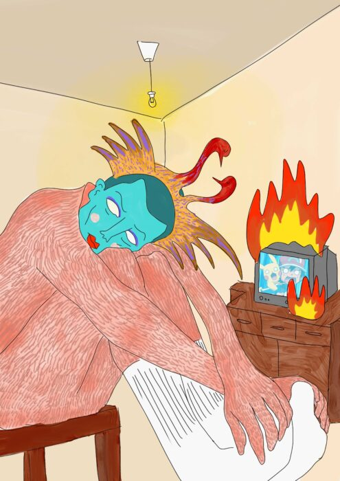 a drawing of a person sitting on a chair, and hugging their own legs. they wear white socks, have a blue face and pink body. from their head a two-headed bird appears. in the background, a television is on fire.