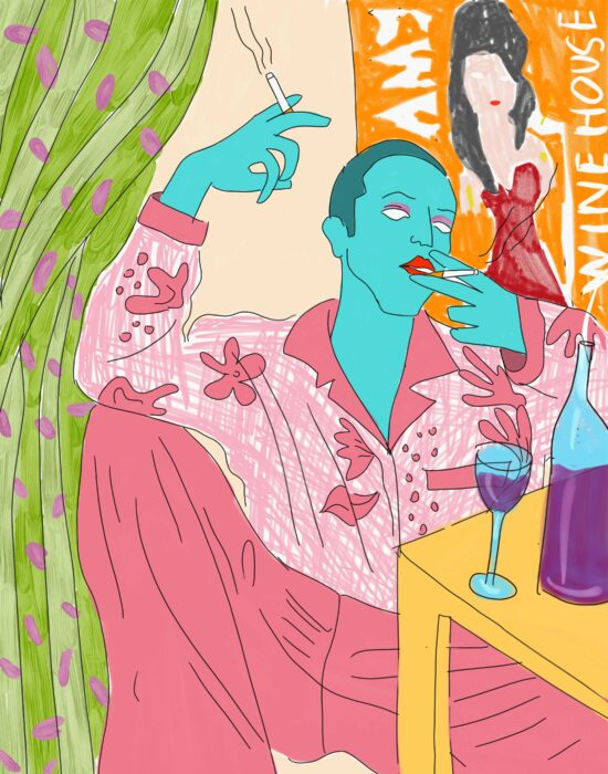 a drawing of a person with light blue skin wearing a pink flowered shirt and pink trousers, smoking while sitting at the table where a glass and a bottle of wine are placed. in the background a green curtain and an orange poster