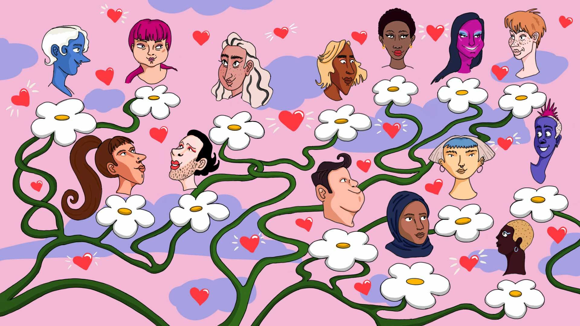 a drawing of a tree branch from which different heads grow, each head is a person surronded by tiny hearts, implying they all love one another