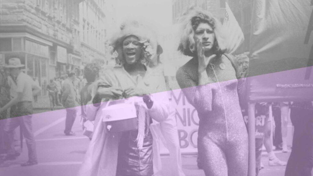 Sylvia Rivera and Marsha P Johnson march at a protest