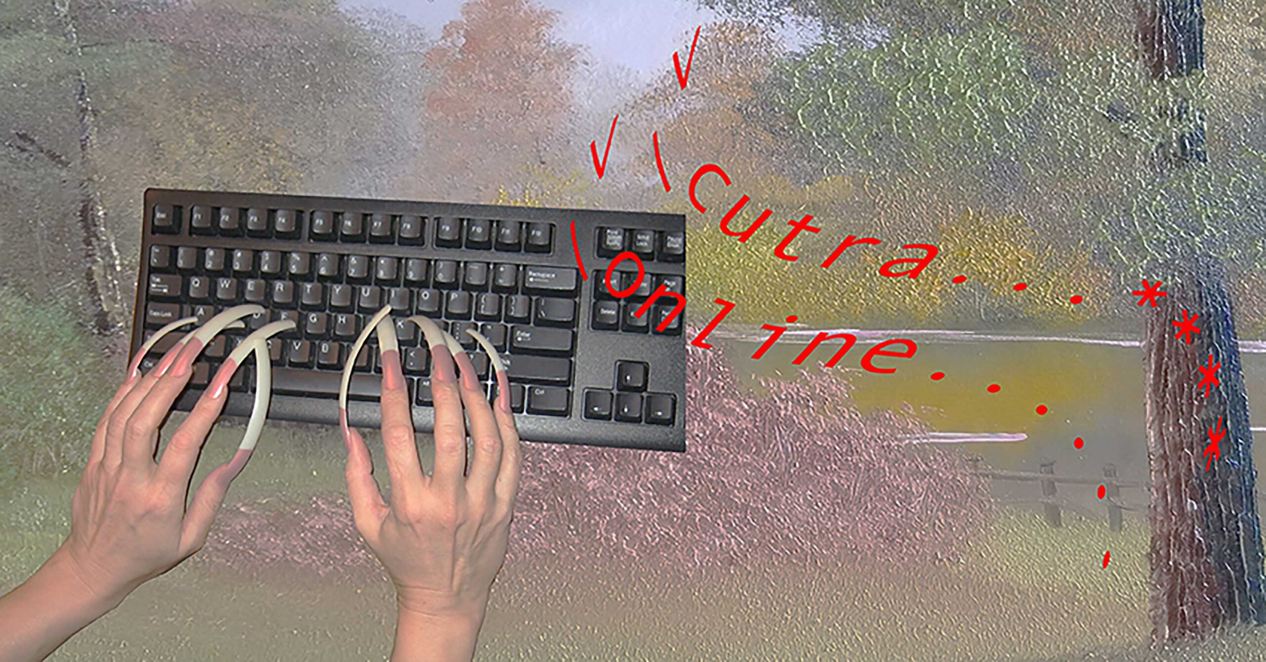 """hands with long fake nail type on an old school keyboard, the background is a digitally distorted park landscape with the writing """"cutra online"""" floating in the space"""